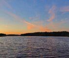 Morgenrot beim Bootssteg