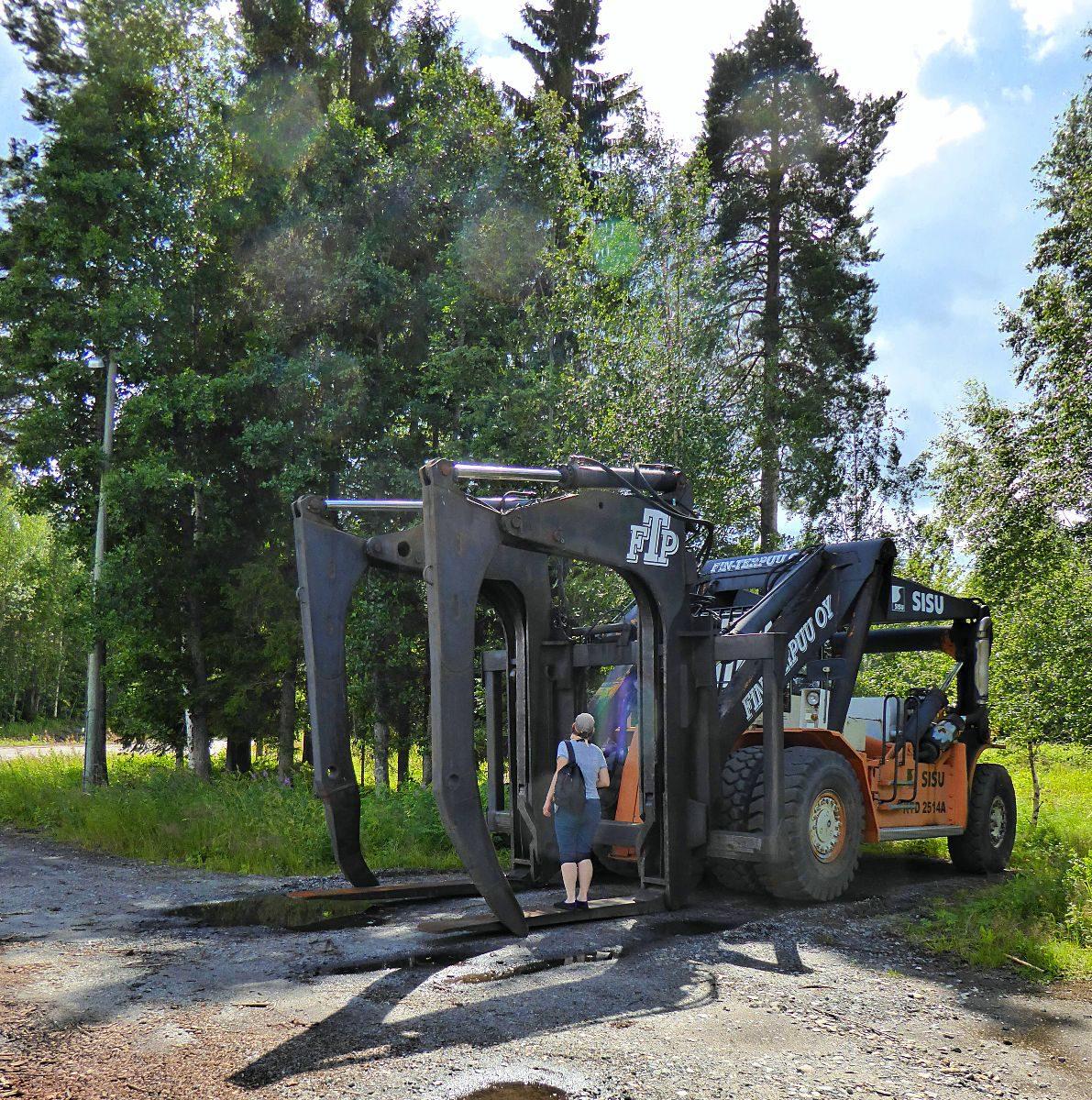 Ein Stapler um einen ganzen Trailer mit Baumstämmen auf einmal zu entladen