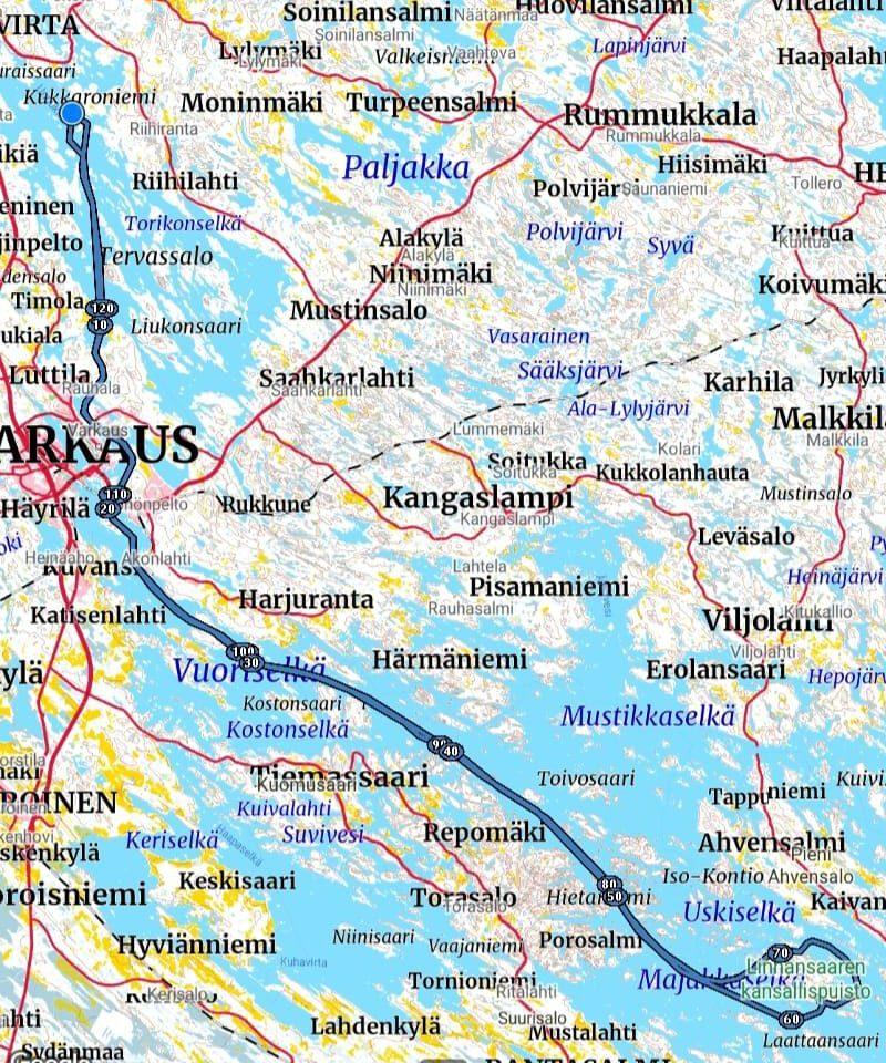 Map to Linnansaari Finland huebner photography